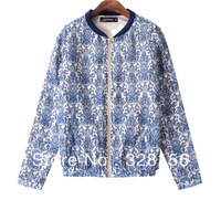 New fashion Womens' celadon porcelain print jacket elegant vintage casual ourwear coat S.M.L free shipping