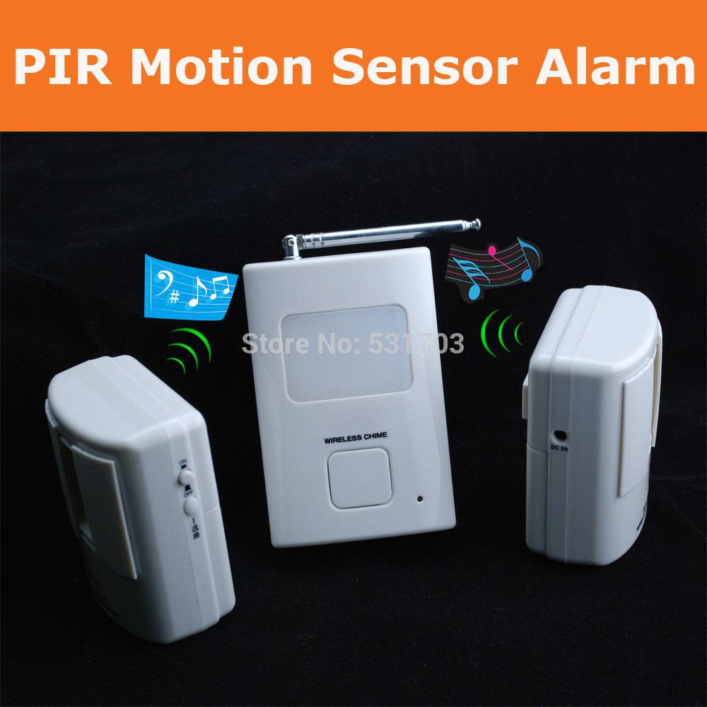 Wireless Home security Alarm systems: sensor Doorbell, alarm chimes by High sensitive PIR motion detector (1V2)(China (Mainland))