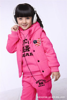 Free Shpping 2013 fashion Suitable for winter wear Child suit 100% cottonHoodies Sweatshirts  casual grils sports 3PCS-SETS