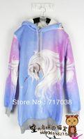 Free shipping Harajuku zipper dream soft sister Unicorn Ma gradient purple blue Hooded Fleece long sweater AMO