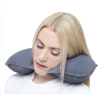 Inflatable breathable pillow travel neck cushion with velvet pillow case for cervical health used in bus plane and everywhere