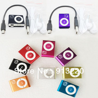 hot 10pcs Hello Kitty Mini Clip MP3 player+usb cable+earphones music player support 2G 4G 8G TF card  free china post