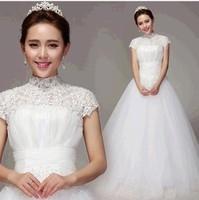 wither high lace wedding dress 2013 sweet Halter princess short flower wedding dresses plus size .wholesale 843