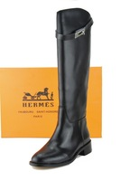 Sexy genuine leather knee-length boots flat winter women boots martin boots buckle decoration single women's shoes brand