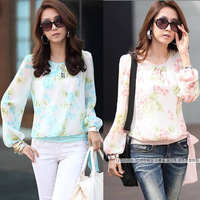 Blouse Shirt Print Flower Chiffon Long Sleeve Blouse Free Shipping W4095