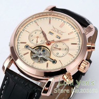 2014 JARAGAR  Fashion Watches Toubillion Man Day/Week/Year Watch Mens Mechanical Stell Wristwatch Free Shipping