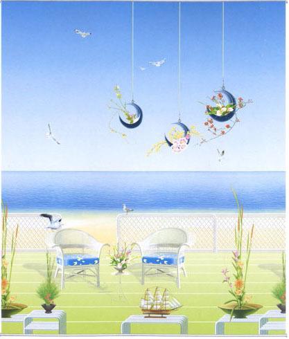 Sonho da praia do mar janela sombreadas cortinas de rolo de tecido(China (Mainland))