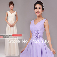 New Fashion Elegant Wedding Bridesmaid Party   Long Maxi Chiffon Dress V-Neck Free Shiping