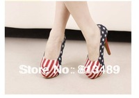 american flag ultra high heels sexy women plus size shoes single shoes low color block decoration  autumn spring