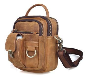 TIDING Retro leather sling messenger bag men's tote handbag brown 3 way sport bag free shipping 30043