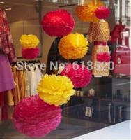 Free Shipping 20pcs Mixed (25cm,30cm) Tissue Pom Poms Flower Balls Home Garden Party Wedding Decorations