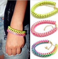2013 New Fashion European Sunshine Colorful Handmade Braid Woven Wrap Chain Bracelet for Unisex Women & Men WHolesale Cheap Hot