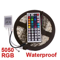Hotsale 5M 5050 60 led RGB Strip Light Waterproof 5050 300 LED RGB Led Light Strip 12V+24 Key IR Remote Controller Free Shipping