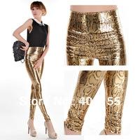 2014 New Spring Print golden snakeskin pattern Pants Faux Leather For Women High Waist Leather elastic Female Leggins Leggings