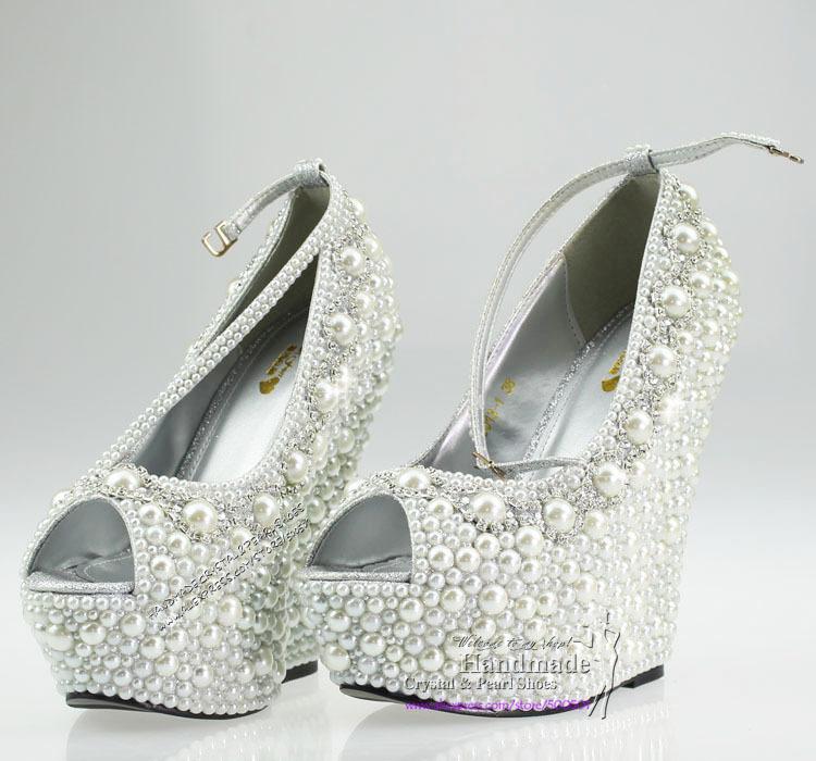 Wedding Wedges Formal Wedding Shoes White Wedding Wedge High Heel Platform Bridal Wedge Peep Toe