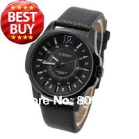 New 2013 Curren 8123 Modern Business Men watch with Big Round Dial Soft PU Leather For Men (black)