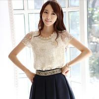 2014 Korean Summer Lace Women T Shirt Loose Female Chiffon Tops Chifon Gauze Blusas Femininas Renda Camisas