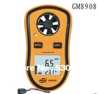 Free Shipping GM8908 LCD Hand Held Anemometer 0.3 to 30 meter per second Digital Wind Speed Meter Measuring Instruments Air LED