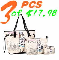 women's handbag all-match messenger pattern bag 3 piece girl's 2014 summer big bags vintage Printing design bag casual retail