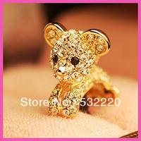 Free shipping Full Diamond Cartoon Papa Bear dust plug for cell phone J.R.Fashion Can be wholesale