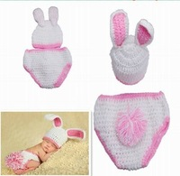 Free shipping Bunnies white and pink Rabbit baby Animal Unisex Costume handmade Knit crochet photography props hats Cap Newborn