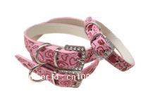Free Shipping 2013 Western Style PU Leather Dog Pet Collar Pink Diamond Puppy Leash Dog Product