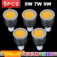 5pcs/lot High Bright Dimmable GU10 5W COB Led Bulbs Light 120 Angle E27 Warm/Cool White Led Spotlights Lamp Dimmable 110-240V