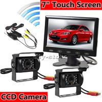 "12V Wireless Reversing Kit 7"" TFT Touch Screen + 2 X Wateproof IR Night Vision CCD Camera Semi Bus Caravan Truck"