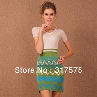 Free shipping wholesale 2013 new fashion women garment top brand V-Neck short sleeve cotton knitted missoni bandage blue dresses