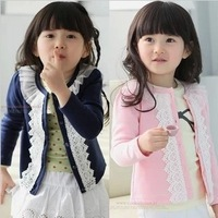 New 2013 girls clothing outerwear lace gentlewomen all-match cardigan knitted sweater knitwear Free shipping S12