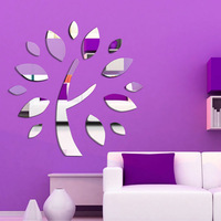 free shipping Wishing tree mirror wall sticker ceiling decoration decal 1MM thick PS plastic mirror home decor