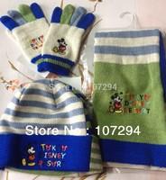 Exported to Japan  original quality goods - orange blue children  scarf gloves hat 3 sets (season big sales promotion)