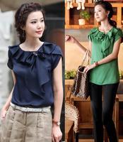 2013 Summer women's clothes plus size clothing blue chiffon lace ruffle collar short-sleeve shirt Free shipping