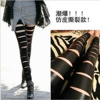 Free Shipping Women Leather Jogging Pants  Women PU Matt Faux Leather Hole Legging Ankle Length Sex Skinny pants