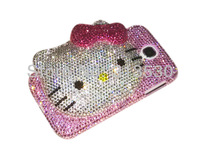 3D Kitty Cat Mirror Inlaid Authentic High Quality Austria Crystal Diamond Cover Case For Samsung Galaxy SIV S4 i9500  Pink