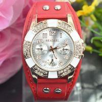 Women wholesale fashion leather strap quartz watch Analog Sport Dress Watch Women Men Pu Leather Quartz Watch multicolor