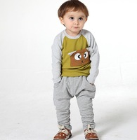 Drop shipping,Wholesale square bear toddler suit set 2-piece set  tee+pant 100% cotton lycra fabric Y1-Y4 kid's cloth