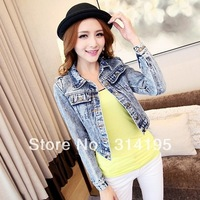 Free Shipping 2013 autumn lady's cardigan short design denim jackets woman outerwear female long-sleeve mlsd9158