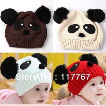 Free Shipping 2PCS  Winter Warm Cute New Hats Baby Toddler Kids Fashion Panda Knit Crochet Children Girl/boy Beanies Caps 652668