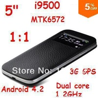 New 1:1 i9500 S4 5.0 inch android 4.2.2 MTK6572 3G WCDMA GPS 8MP Smart Phone Micro SIM Single Card Mobile Free shipping