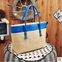 New retro Shopping bag mixed colors hit the color portable shoulder  leisure  handbag women Rivet