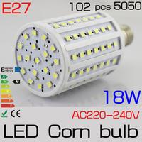 5CS/LOT E27 360degree 18w lampada 102pcs SMD5050 LED Corn Bulbs lamp light 220V/230v/240V Warm white / white Freeshipping