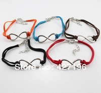 Min. order $10(mix items) infinity bracelet leather silver plated charm infinity with colorful leather jewelry free shipping