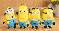 40pcs/lot Despicable Me Keychain Minion Tim / Minion Dave / Minion Stuart Figure Pendants Mini Toys For Gift