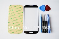 HK Post Freeshipping Black Color Outer Lens Glass Touch Screen For Samsung Galaxy S4 S IV I9500+3M Adhesive+7pcs Tools Kit