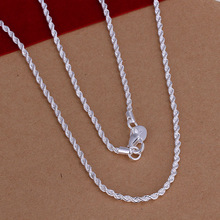 Hot Sale!!Free Shipping 925 Silver Necklace Fashion Sterling Silver Jewelry,2MM 16-24inch Twisted Rope Necklace SMTN226(China (Mainland))