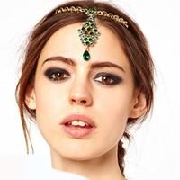 Min.order is $18(mix order)Stunning Gold Green Imitation Crystal Chain Hair Comb Cuff Pin Headband Hair Accessories