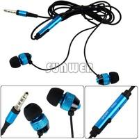 New Blue 3.5mm Stereo In ear earphone earbud headphones handsfree headset for HTC iPad iPhone Samsung 11710