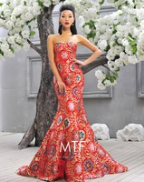 Free Shipping Q1383 Sexy Long Bra Fishtail Toast Clothing Red Cheongsam 2013 Latest+100%Satin