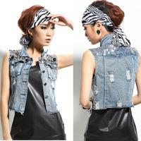 Korean Style Women's Vintage Denim Vest Washed Blue Denim Sequin Embellish Short Jean Vest Sleeveless Casual Jacket nz107